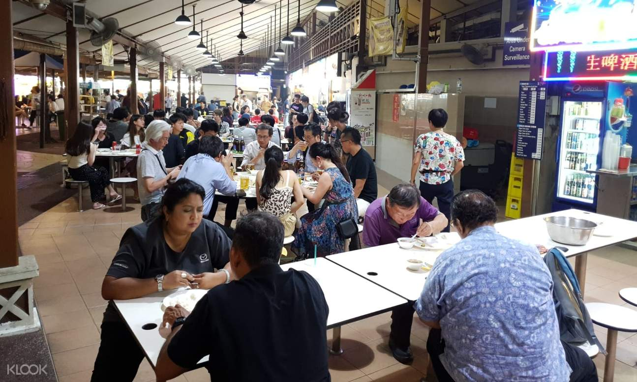 crowded tables at a hawker center
